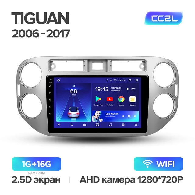Штатная магнитола Teyes для Volkswagen Tiguan 1 2006-2017 на Android 8.1 WiFi 1Gb + 16Gb