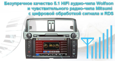 Штатная магнитола Сarmedia Toyota Land Cruiser Prado 150 2013-2016 Windows CE + опция Android DT-5266